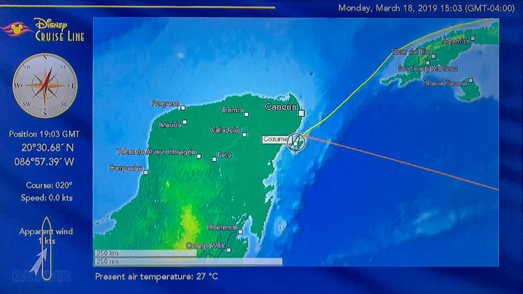 Stateroom TV Map Fantasy Day 3 Cozumel 20190318