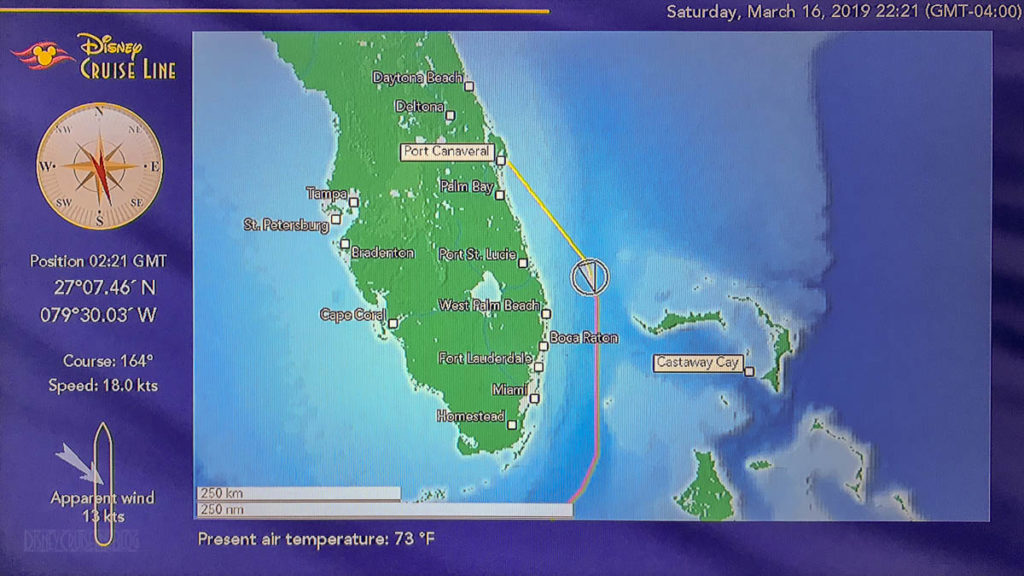 Stateroom TV Map Fantasy Port Canaveral Day 1 20190316