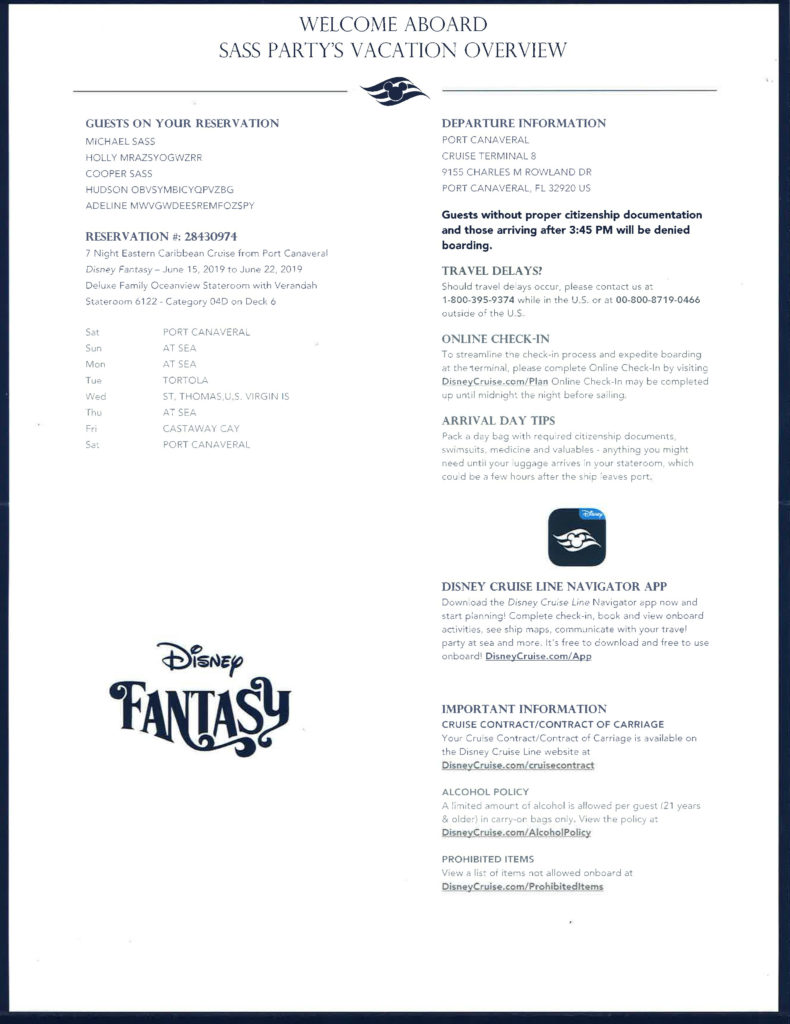 DCL Luggage Tag Mailer Cruise Details