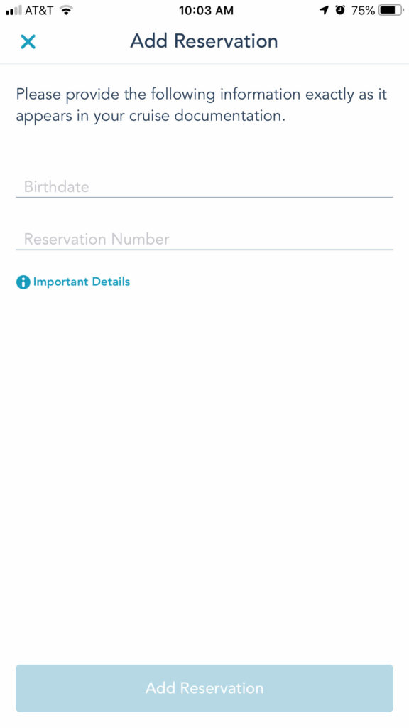 DCL Navigator App 3 Add Reservation