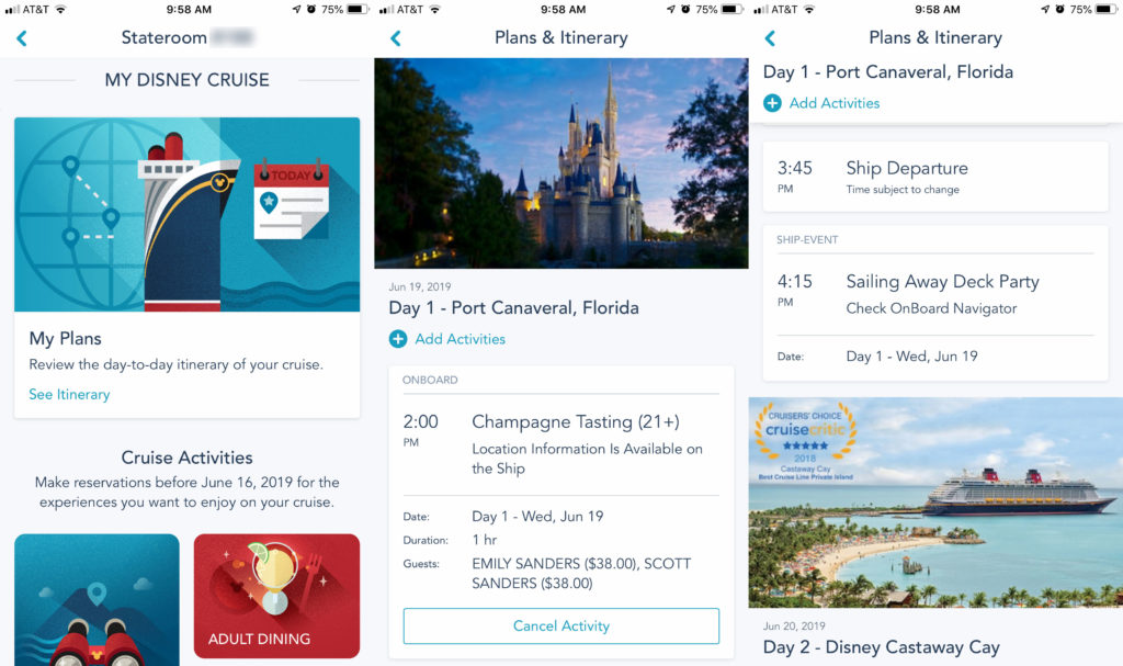 DCL Navigator App 3 My Cruise Itinerary