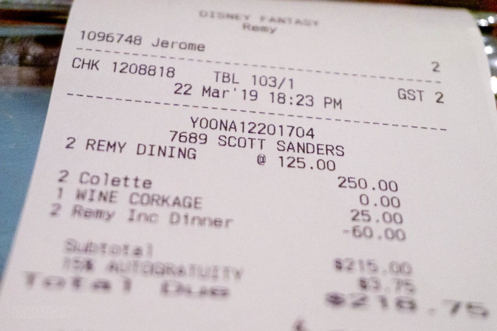 Fantasy Remy Dinner Final Bill