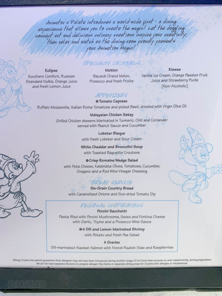 Animator's Palate Animation Magic Regional Dinner Menu Wonder