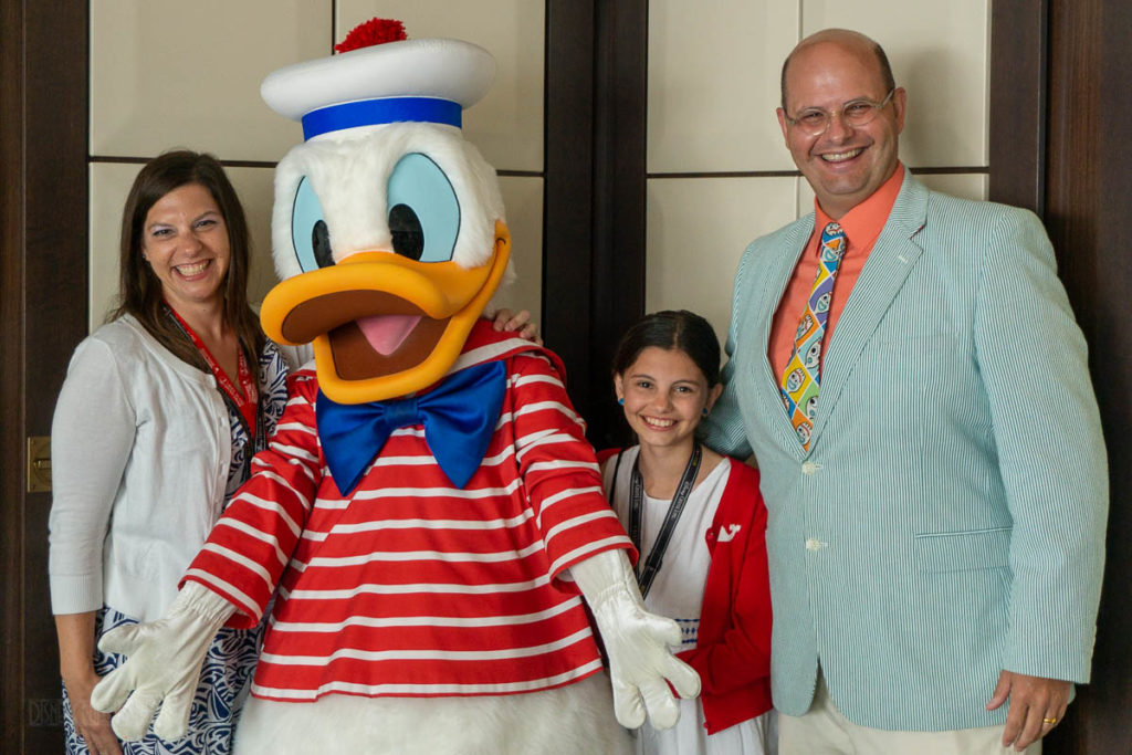 DCL Blog Group Cruise Reception Donald Meet & Greet Family Photo