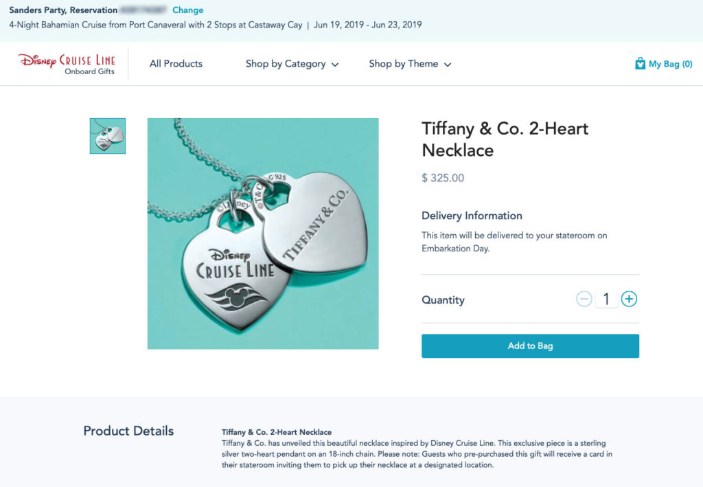 DCL Dream Tiffany Co 2 Heart Necklace Pre Order