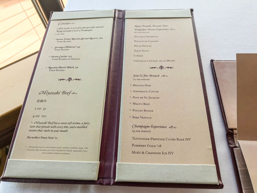 Disney Dream Remy Dinner Enhacnements Menu June 2019