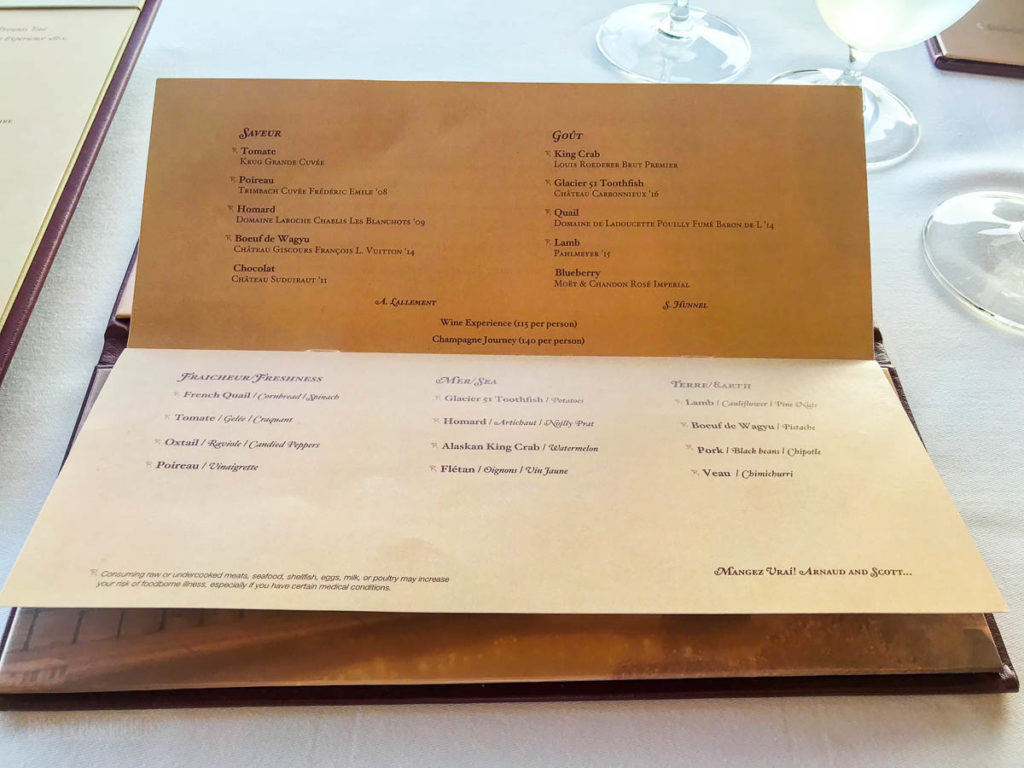 Disney Dream Remy Dinner Menu June 2019