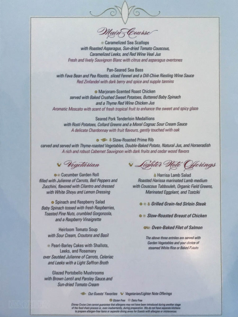 Enchanted Garden Dinner Menu B Dream June 2019