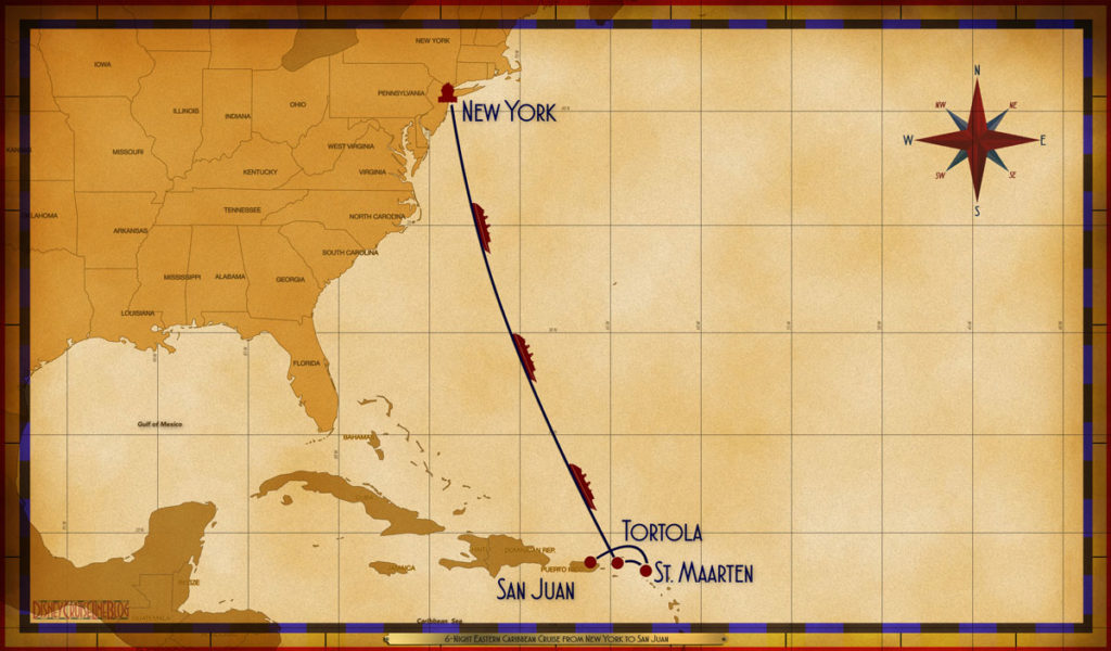 Map Magic 6 Night Eastern Caribbean NYC SEA SEA SEA TOV SXM SJU
