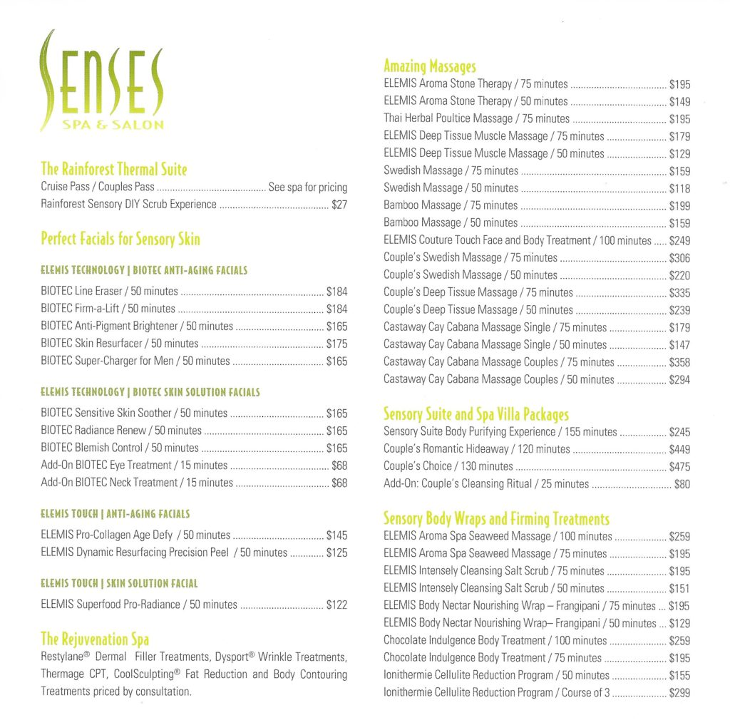 Senses Spa Salon Fantasy Price List June 2019 1