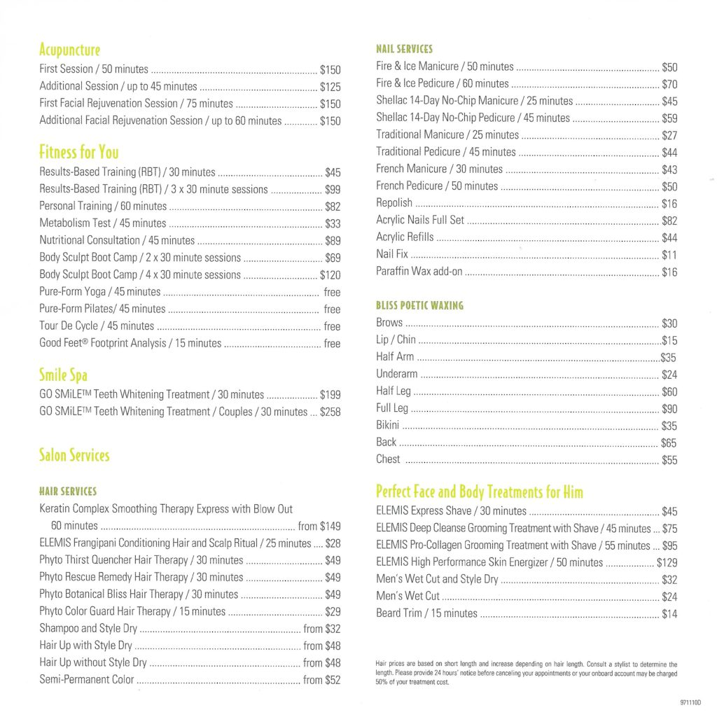 Senses Spa Salon Fantasy Price List June 2019 2