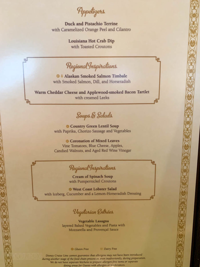 Tiana's Place Princess Regional Dinner Menu Wonder 2019