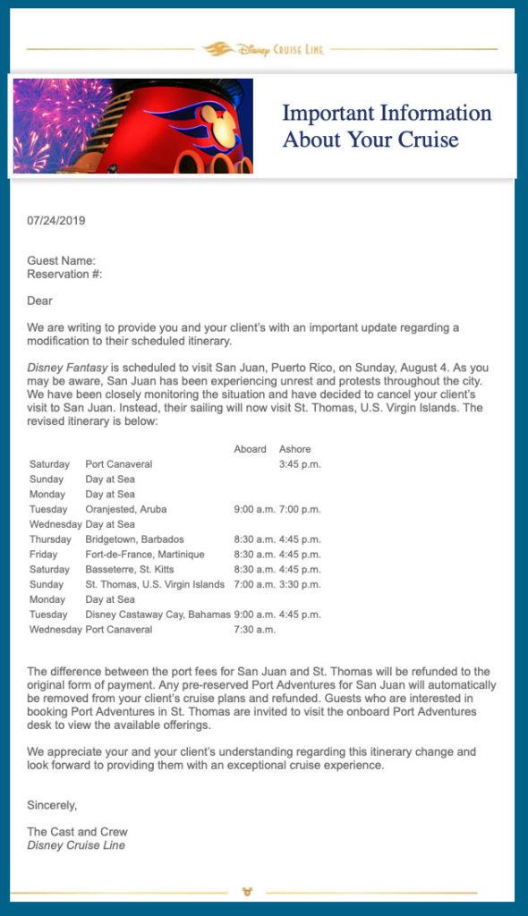 DCL Fantasy San Juan St Thomas Change 20190724