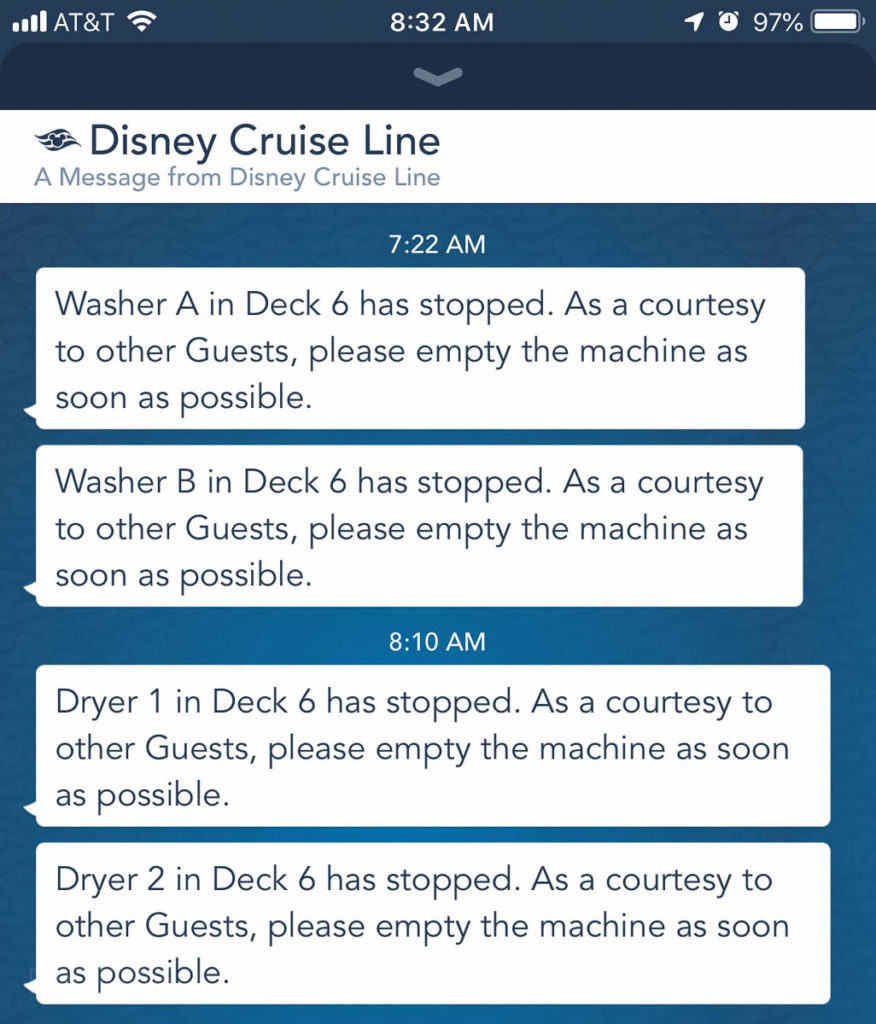 Disney Cruise Navigator App Laundry Notifications