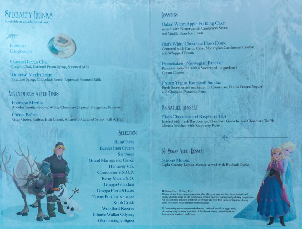 Frozen Dinner Dessert Menu