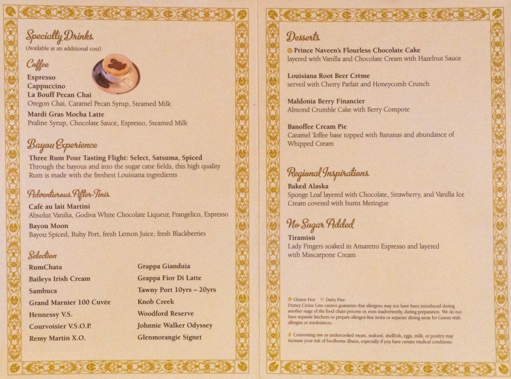Tiana's Place Princess Regional Menu Dessert