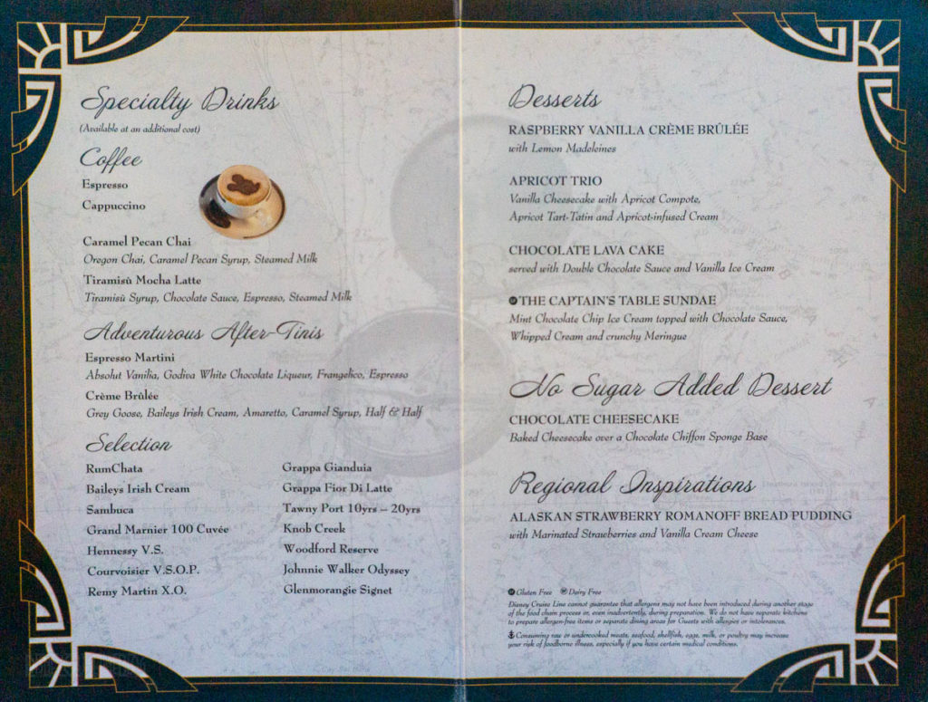 Tritons Captains Gala Dessert Menu