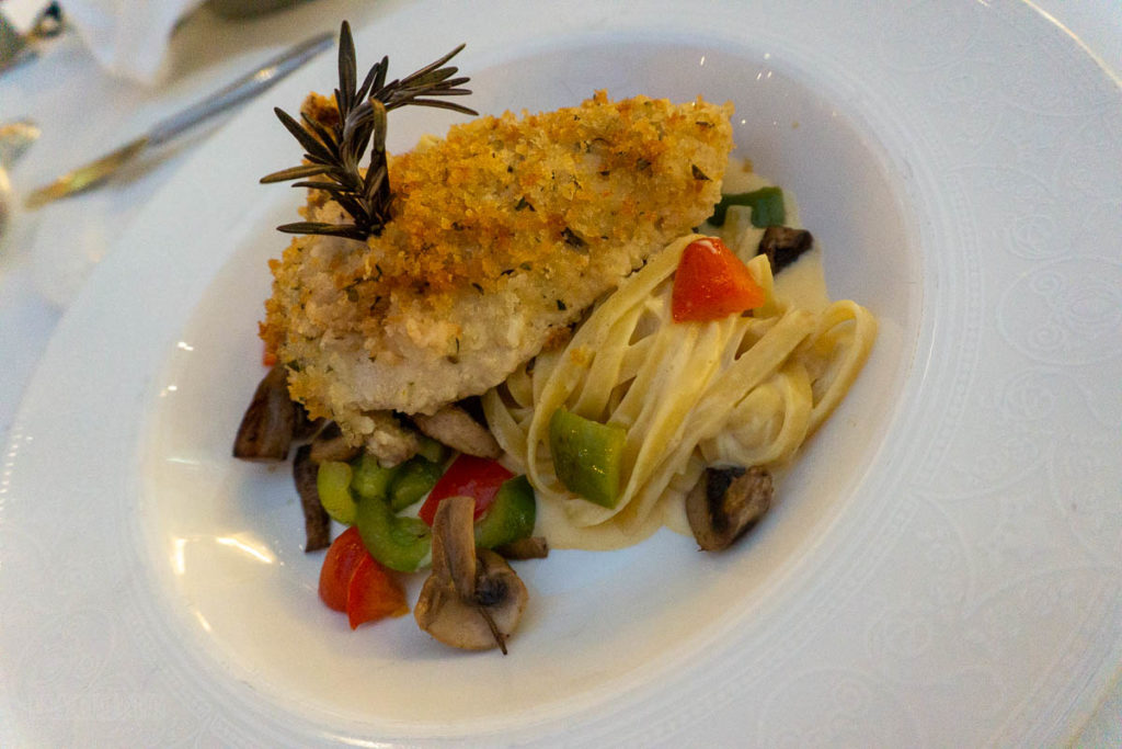 Tritons Captains Gala Dinner Fettuccine Parmesan Crusted Chicken