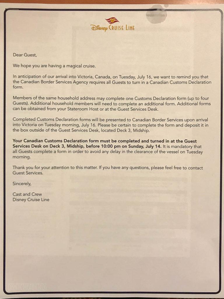 Victoria Customs Notice Letter