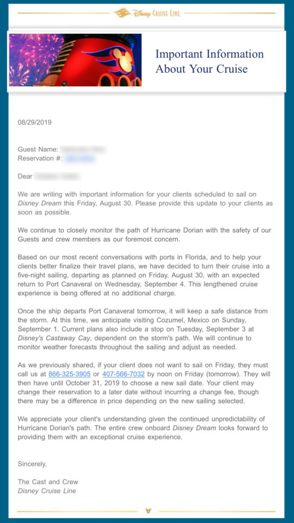 DCL Dream Hurricane Dorian Email 20190829