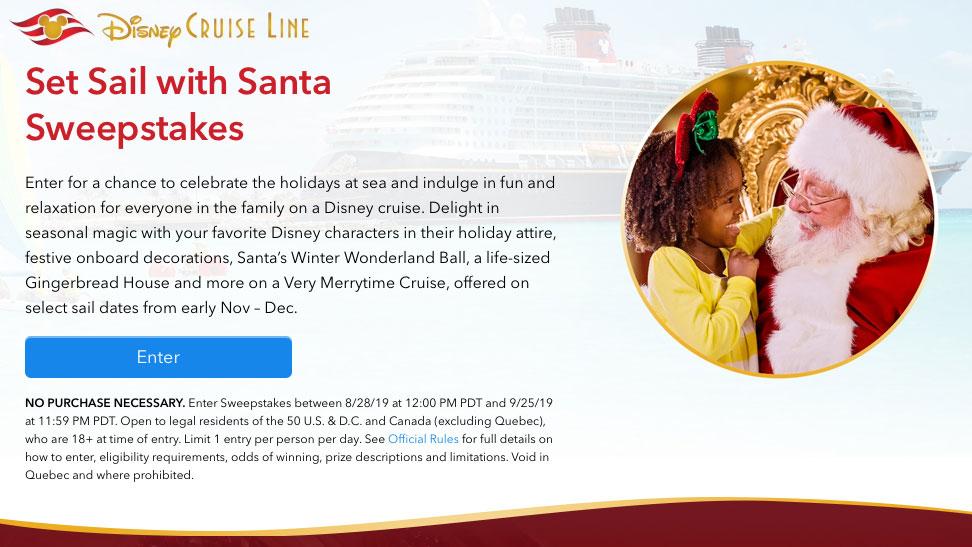 DCL Set Sail With Santa Sweepstates 2019