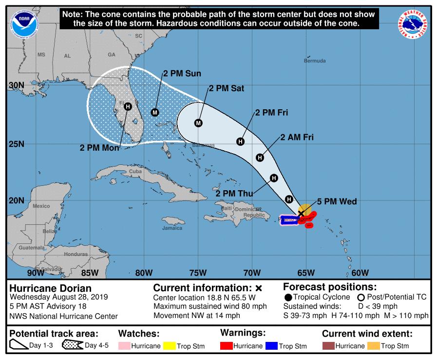 NHC Hurricane Dorian 20190828 5pm
