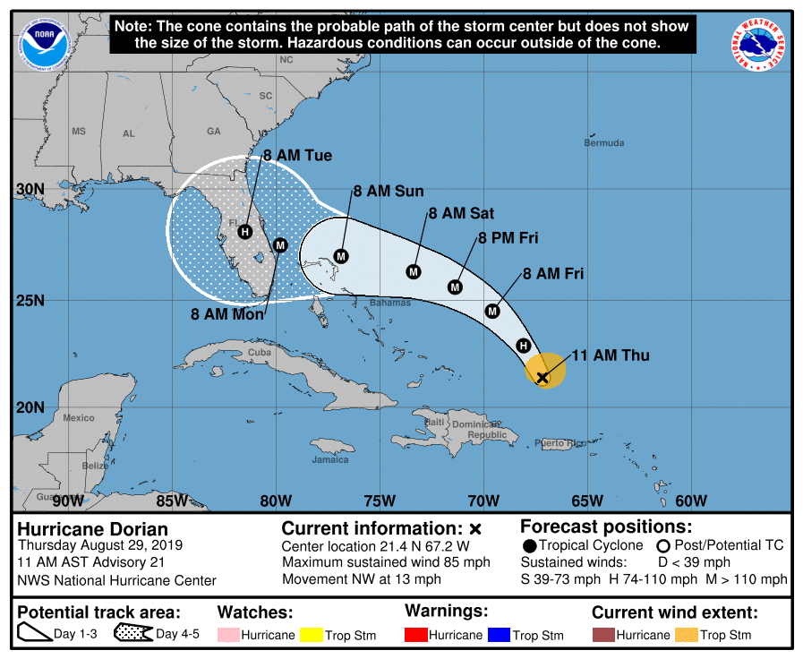 NHC Hurricane Dorian 20190829 11am