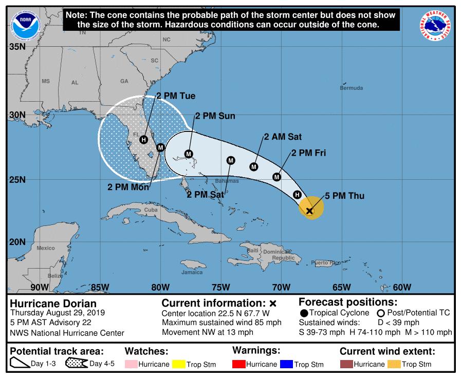 NHC Hurricane Dorian 20190829 5pm
