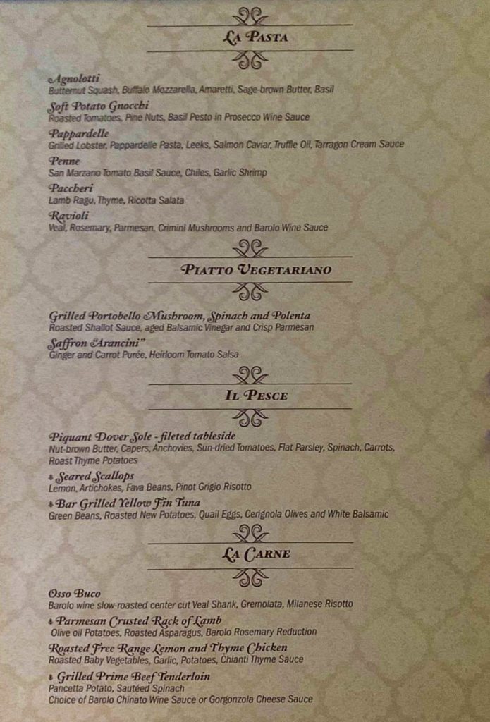 Palo Dinner Menu Dream August 2019