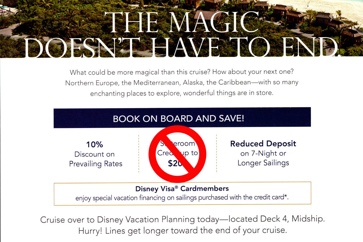 DCL Rebooking Offer No Onboard Credit September 2019