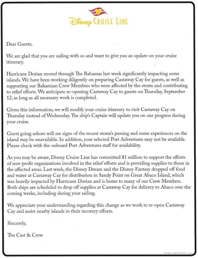 Dream Hurricane Dorian Castaway Cay Letter 20190912