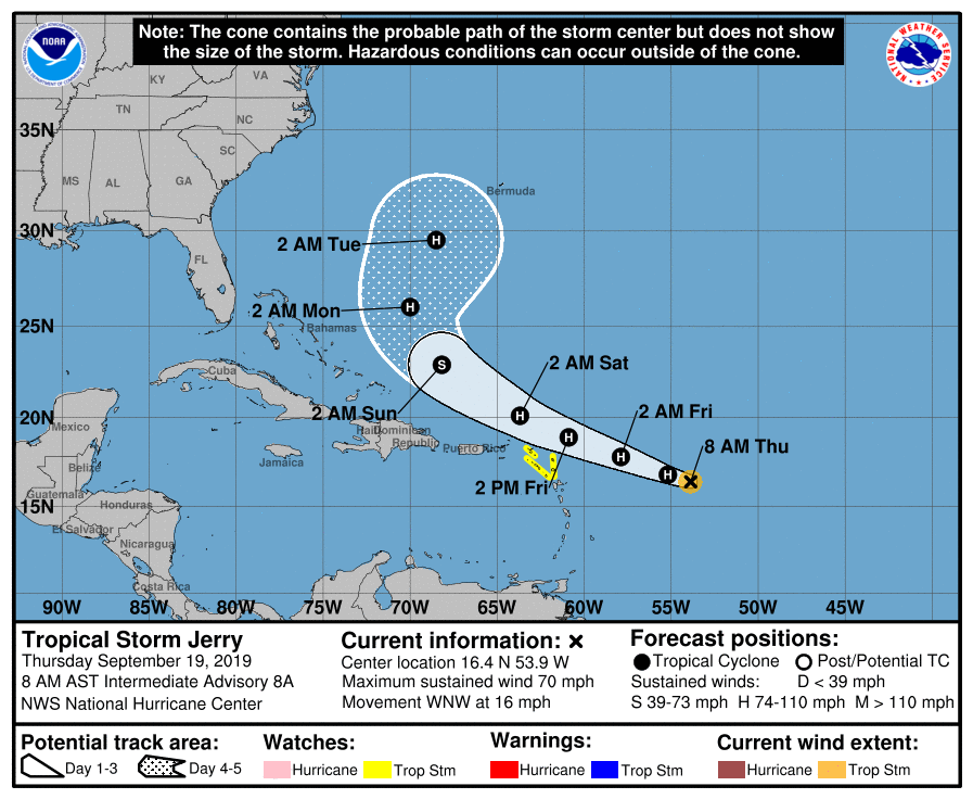 NHC TS Jerry 20190919 8am