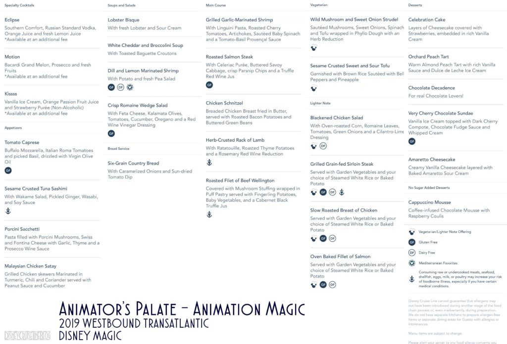 Animators Palate Animation Magic Dinner Menu Magic 2019 WBTA