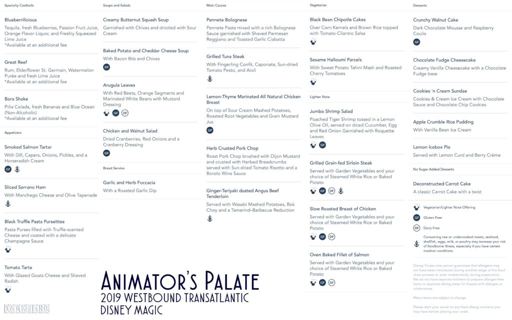 Animators Palate Dinner Menu Magic 2019 WBTA