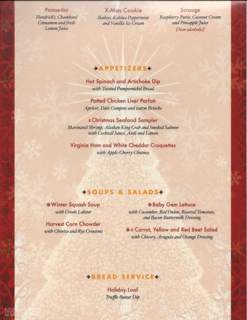 DCL Christmas Dinner Menu A Magic 2015
