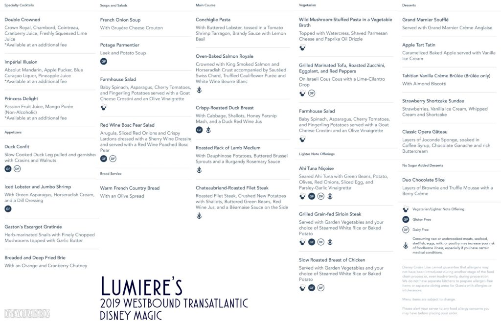 Lumieres Dinner Menu Magic 2019 WBTA