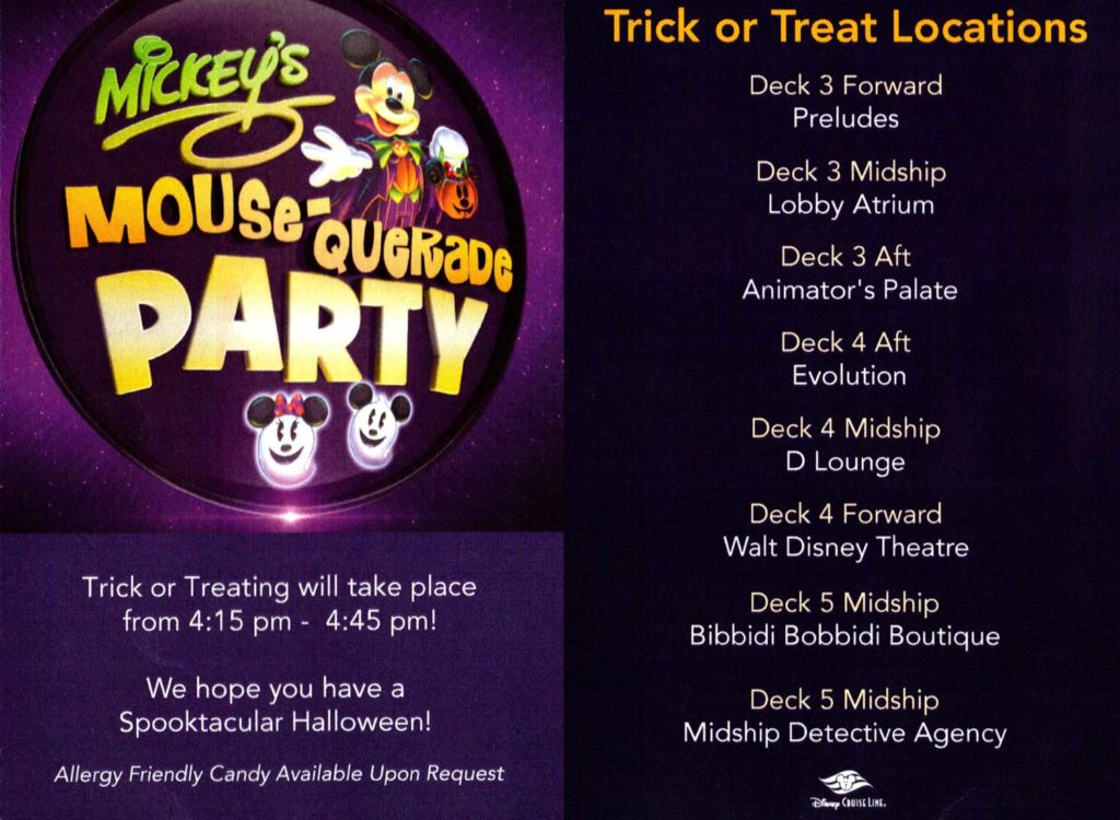 Mickeys Mousequerade Party Trick Treating Locations Dream