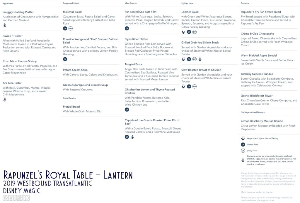 Rapunzels Royal Table Lantern Dinner Menu Magic 2019 WBTA