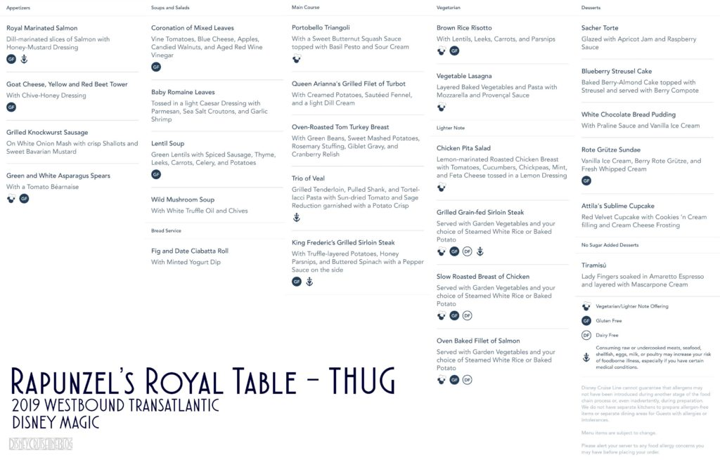 Rapunzels Royal Table Thug Dinner Menu Magic 2019 WBTA