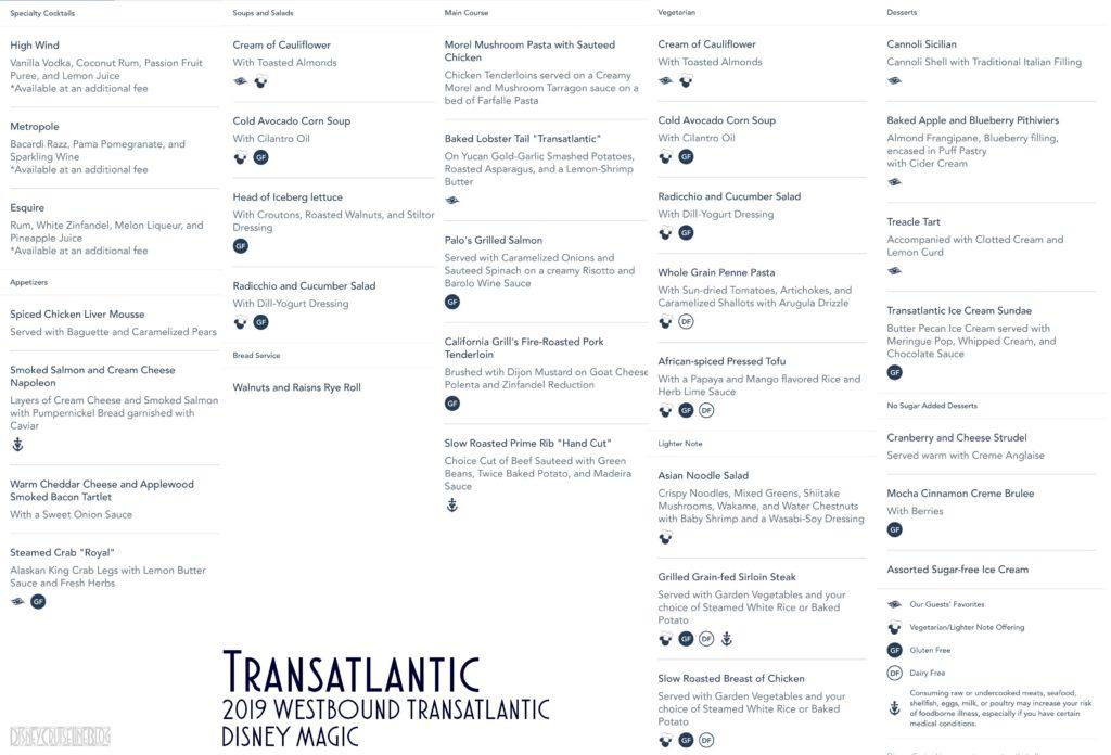 Transatlantic Dinner Menu Magic 2019 WBTA