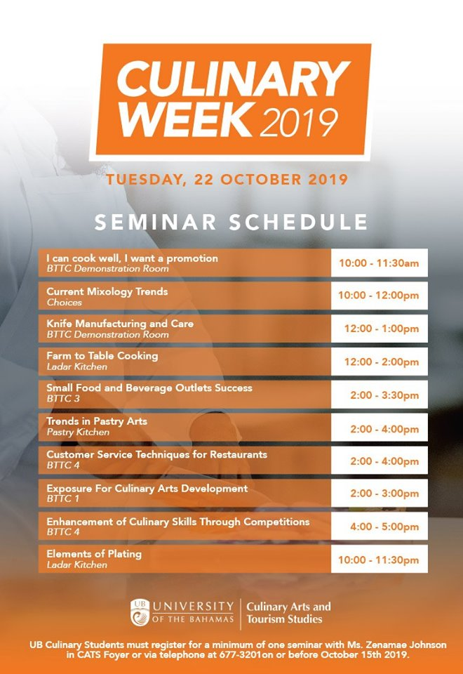 University Bahamas Culinary Week 2019 Schedule