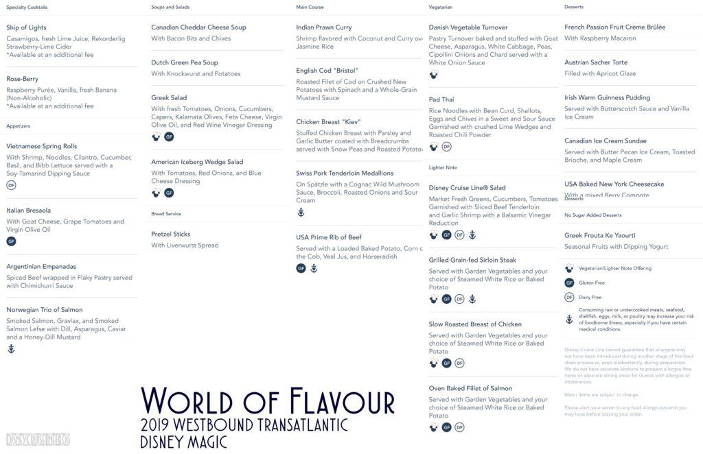 World Of Flavour Dinner Menu Magic 2019 WBTA
