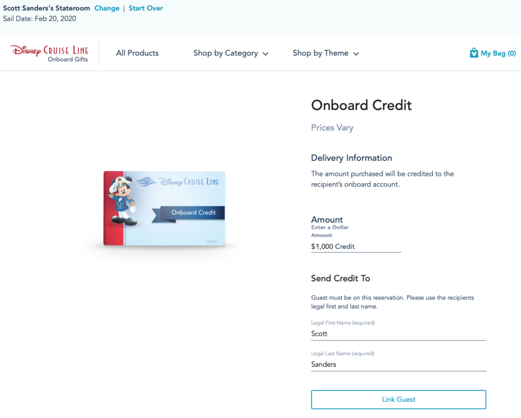 DCL Onboard Gifts Onboard Credit Amount