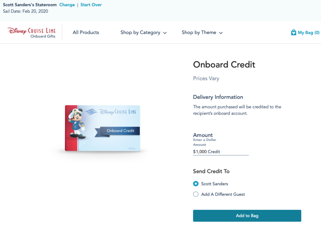 DCL Onboard Gifts Onboard Credit Confirmation