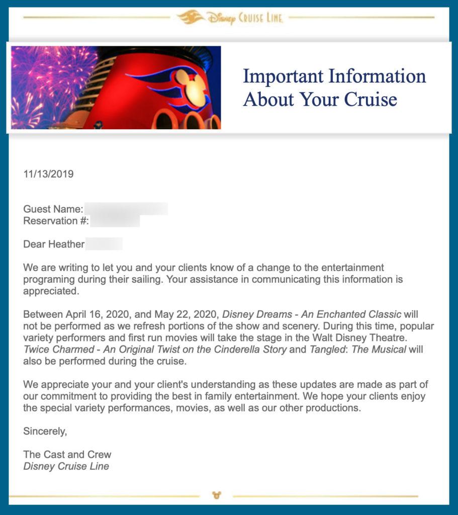 DCL TA Email Disney Dreams Magic Hiatus