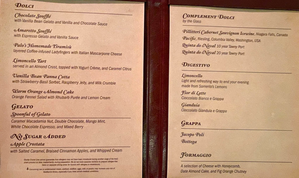 Disney Dream Palo Dessert Menu