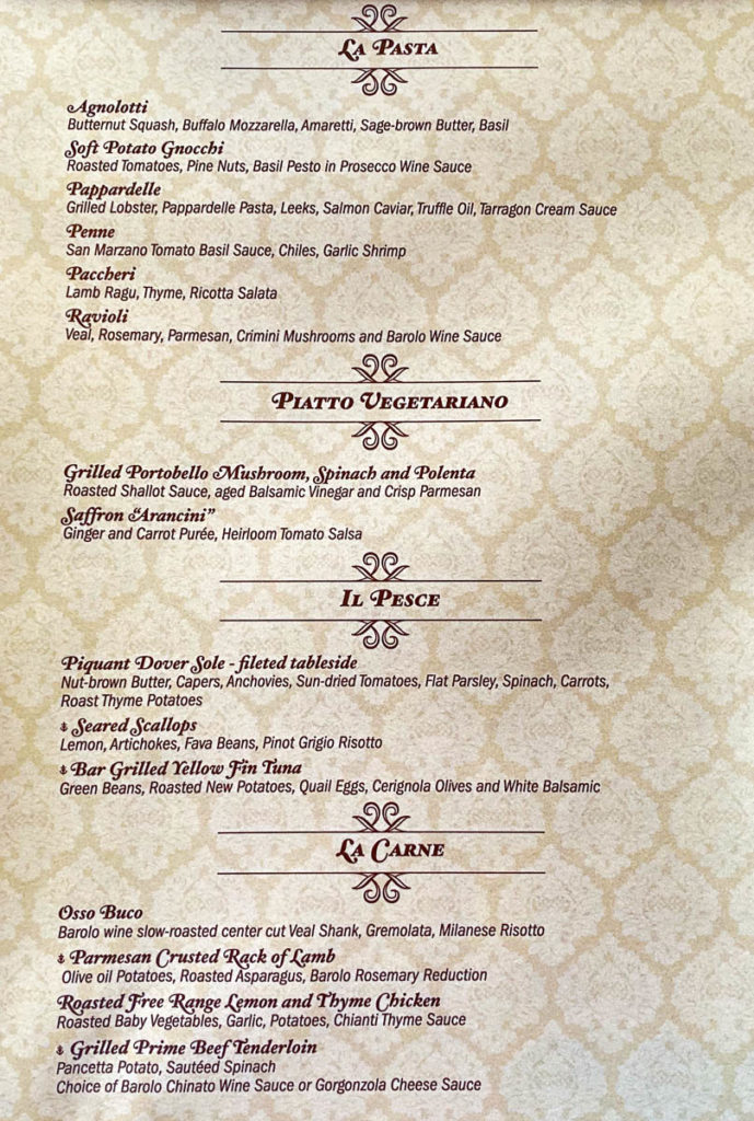 Disney Dream Palo Menu 0819