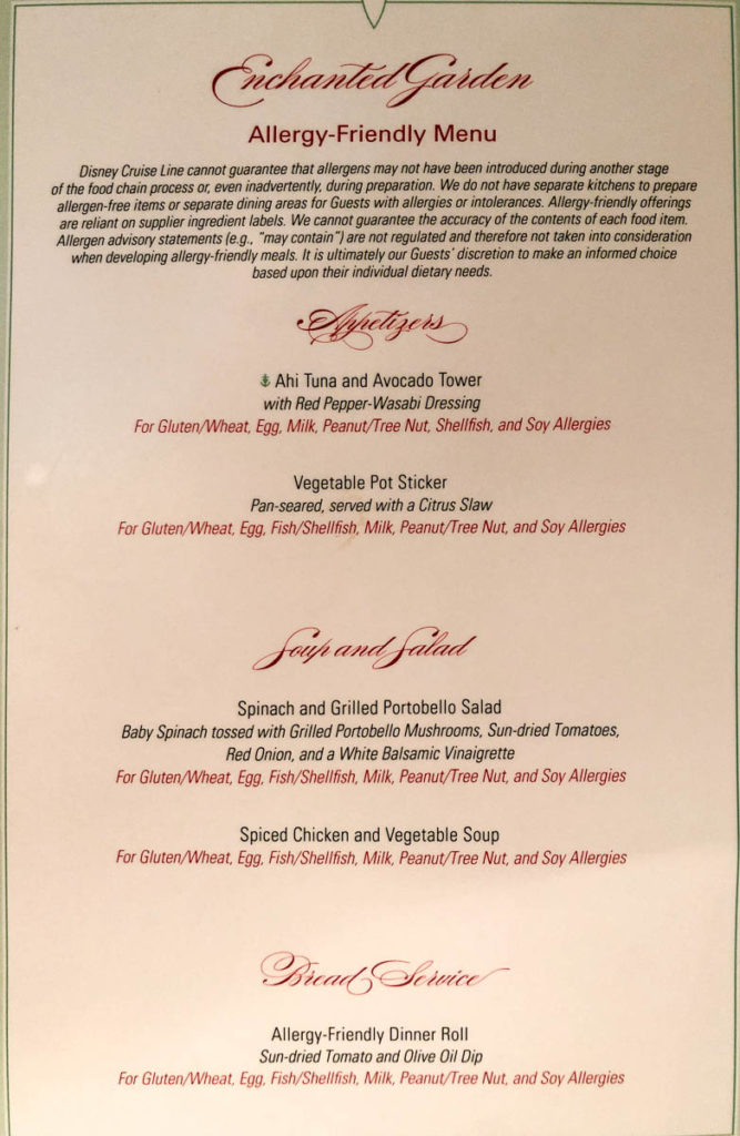 Enchanted Garden Allergy Menu Dream October 2019