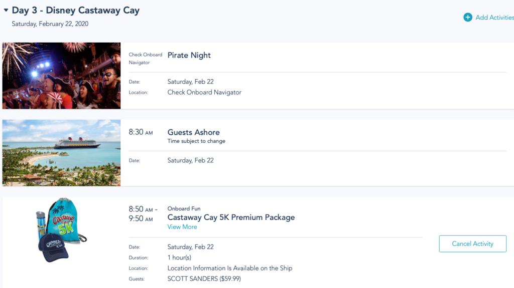 DCL My Plans Castaway Cay 5k Premium Package