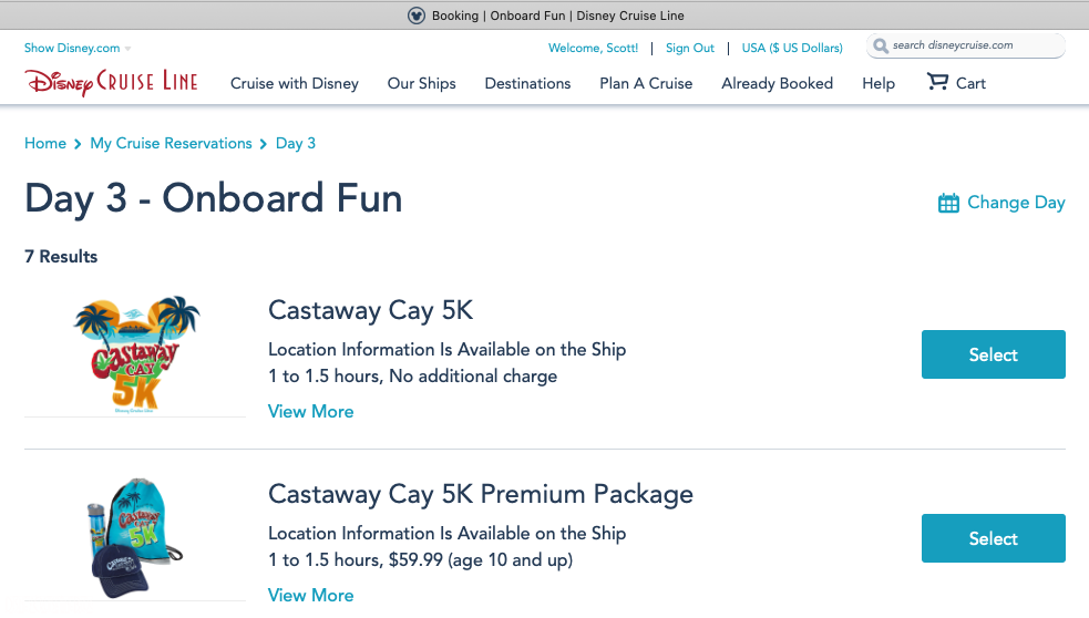 DCL Onboard Fun Castaway Cay 5k Sign Up Booking